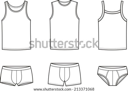 Illustration of men's underwear. Singlet and underpants. Raster version - stock photo