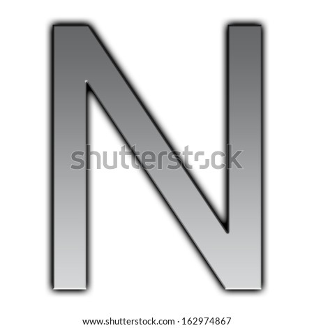 Illustration of metal font - N