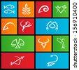 illustration of metro style zodiac star signs - stock photo