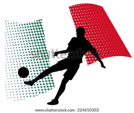 illustration of mexico soccer player silhouette against national flag isolated on white