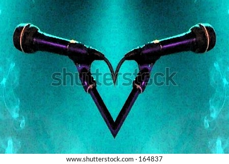 Illustration of microphone duet on smoky aqua - stock photo