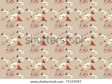 Illustration Of Mid Century Modern 1950u0027s Style Abstract Fish Pattern.  Retro Abstract Background.