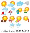 Illustration of mixed weather symbols - stock vector