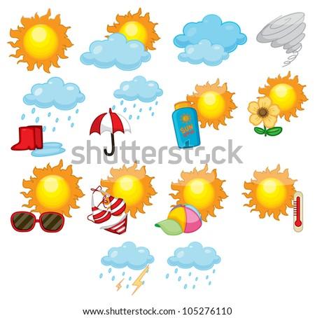 Illustration of mixed weather symbols - stock photo
