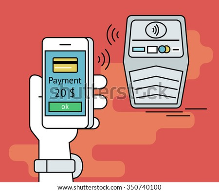 Illustration of mobile payment via smartphone. Human line contour hand holds a smartphone and doing payment by credit card via nfc function - stock photo