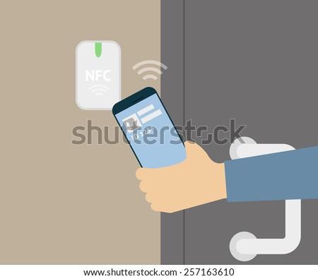 illustration of mobile unlocking a door via smartphone. - stock photo