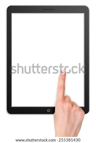 Illustration of modern computer tablet with hand. Isolated on white background - stock photo