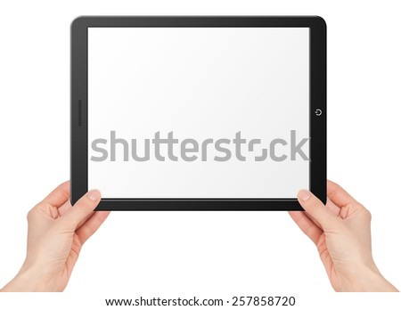 Illustration of modern computer tablet with hands. Isolated on white background - stock photo