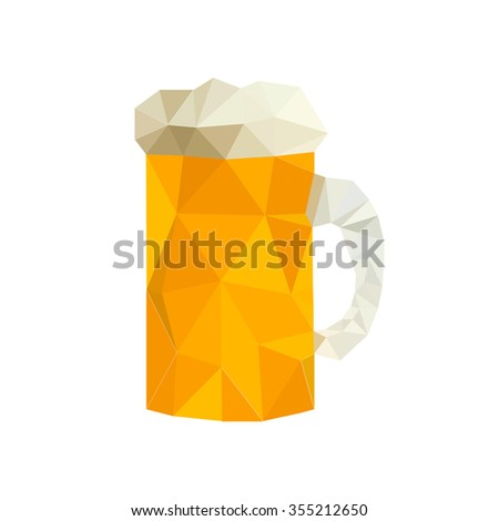 Illustration of modern design with origami beer isolated on white background - stock photo