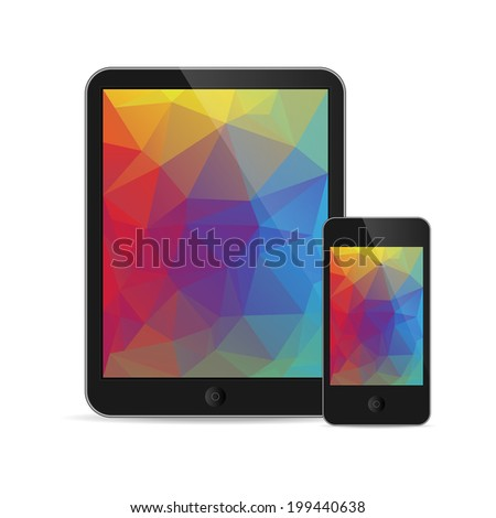 illustration of modern tablet and phone together on white background