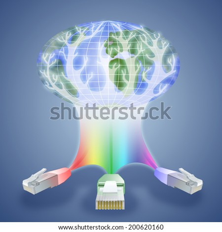 Illustration of modern technologies that have become available anywhere in the world. Three cable network like the three whales that keep the planet, are the basis of modern civilization  - stock photo