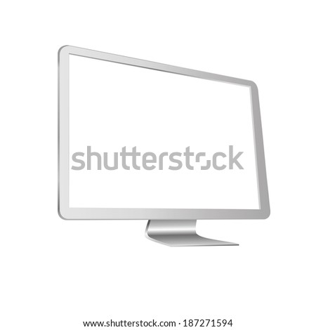 illustration of modern white monitor on white background