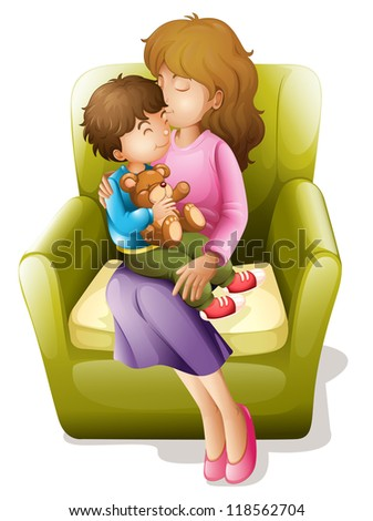 illustration of mom and her kid sitting on a chair - stock photo