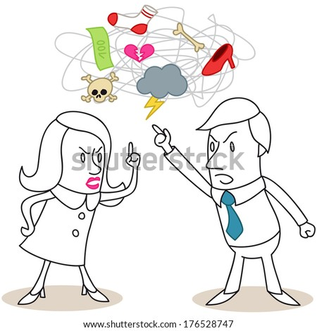 Illustration of monochrome cartoon characters: Man and woman having a heated discussion about relationship issues (vector also available).
