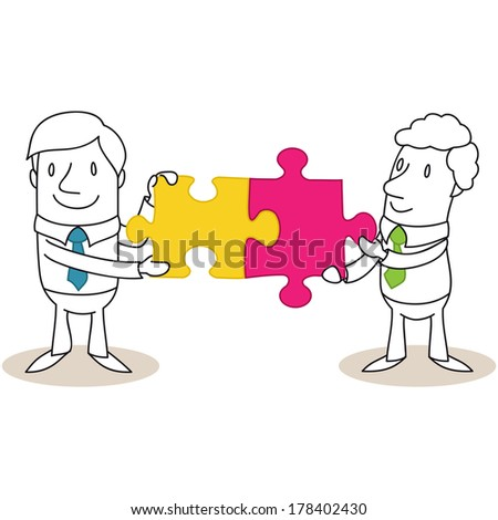Illustration of monochrome cartoon characters: Two businessmen combining two jigsaw pieces.