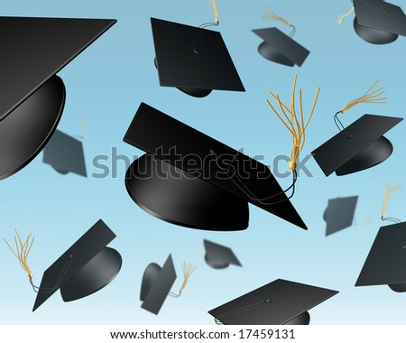 Illustration of mortar boards being thrown in the air in a celebration - stock photo