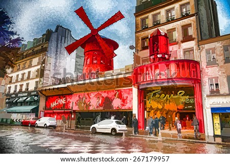 Illustration of Moulin Rouge in Paris