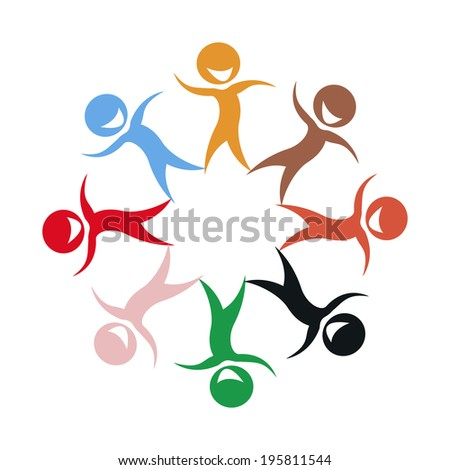 Illustration of multi ethnic group of stylized children silhouettes - stock photo