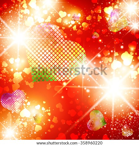 Illustration of Multicolored Heart St.Valentine Day Bright Disco Background