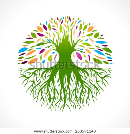 Illustration of Multicolored Round Abstract Vitality Tree  Logo Design - stock photo