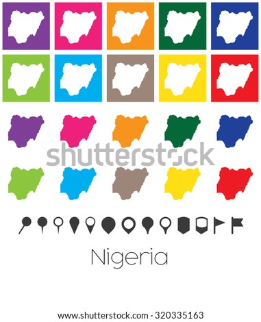 Illustration of Multiple Colours with Pointers of the map of Nigeria