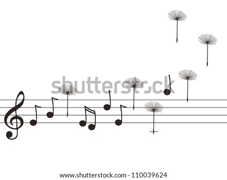 Illustration of music notes with dandelion seeds - stock photo