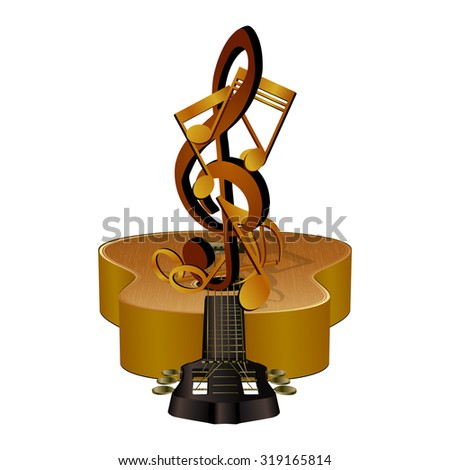 illustration of musical notes in the treble clef, on acoustic guitar. Isolated objects can be used in any work for the billboard or a poster, as well as separately. - stock photo