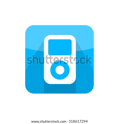 Illustration of musical player icon in modern flat design. Portable music symbol with long shadow