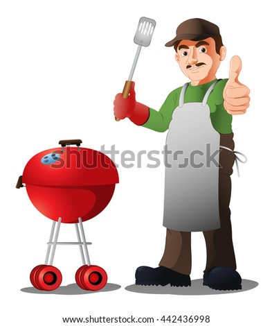 illustration of mustache chef showing his skill  with his barbecue food recipe on isolated white - stock photo
