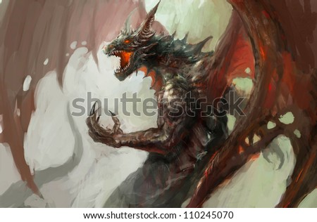 illustration of mythology creature, dragon - stock photo