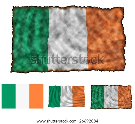 Illustration of national color of Ireland in three different styles