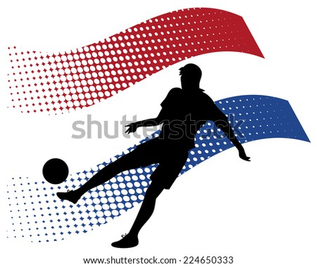 illustration of netherlands soccer player silhouette against national flag isolated on white