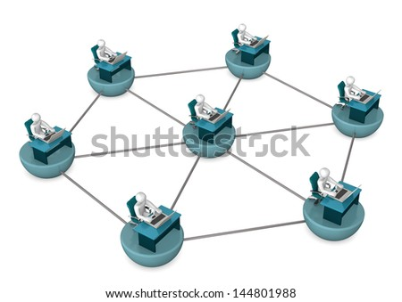 Illustration of networked employees with laptops and tables. - stock photo