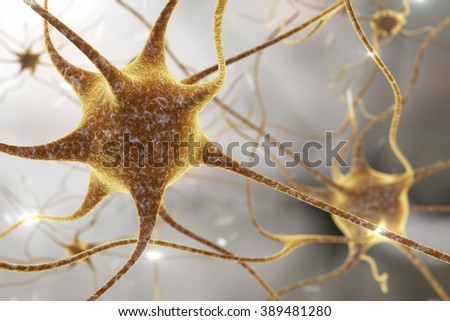 Illustration of neurons on colorful background, model of nervous cells, brain cells, background with neuron, nerve cell, brain cell, scientific background, medical background, healthcare background - stock photo