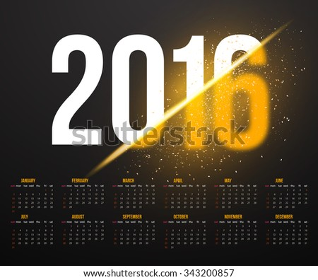 Illustration of New Year 2016 Calendar with Explosion Effect. Happy New Year Background