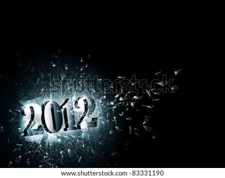 illustration of new year 2012 in the broken glass, copyspace - stock photo