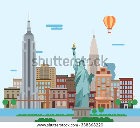 Illustration of New York City, vector landscape of buildings and the Statue of Liberty - stock photo