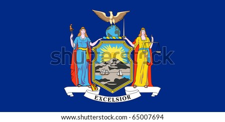 Illustration of New York state flag, United States of America. - stock photo