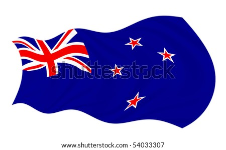 Illustration of New Zealand flag waving in the wind