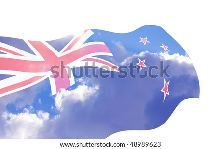 Illustration of New Zealand flag waving in the wind over the cloudy sky