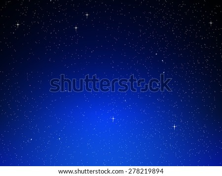 Illustration of night sky with simulated stars on blue background - stock photo