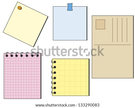 illustration of notes of different color and type