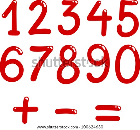 illustration of numbers from zero to nine and math symbols - stock photo