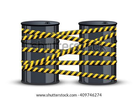 Illustration of Oil barrels with danger lines.  - stock photo