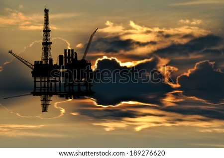 Illustration of oil platform on sea and sunset in background - stock photo