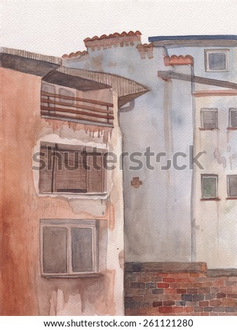 Illustration of old buildings handmade watercolor cityscape - stock photo
