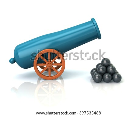 Illustration of old cannon isolated on white background - stock photo