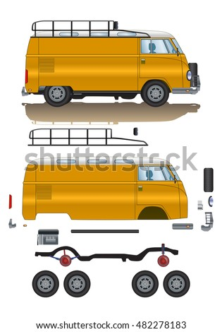 illustration of old classic car spare-part cartoon road vehicle type