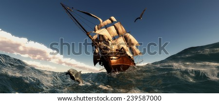 illustration of Old sailboat and sunset  - stock photo
