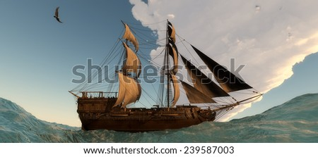 illustration of Old sailboat and sunset